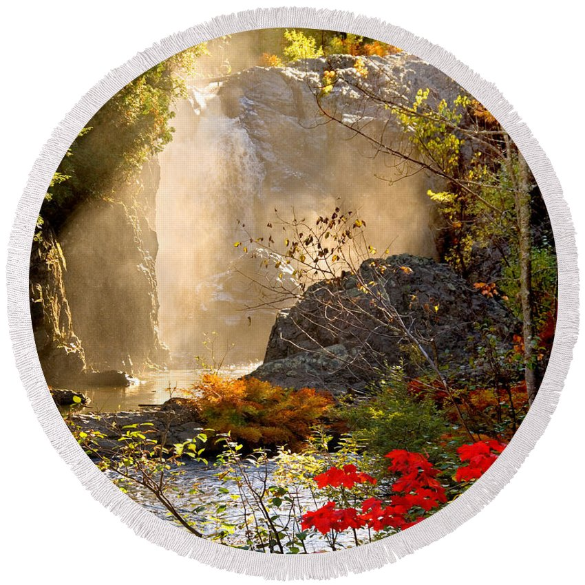 Fall Round Beach Towel featuring the photograph Fall Falls Mist Dead River Falls Marquette Mi by Michael Bessler