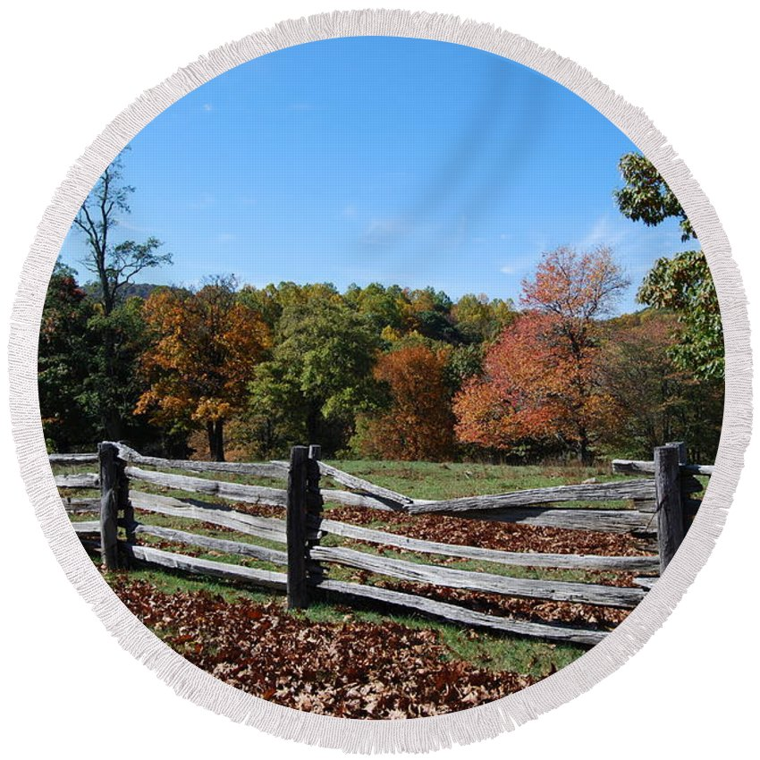 Rural Round Beach Towel featuring the photograph Fall fence by Eric Liller