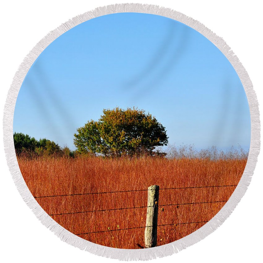 Fall Round Beach Towel featuring the photograph Fall Field by Todd Hostetter