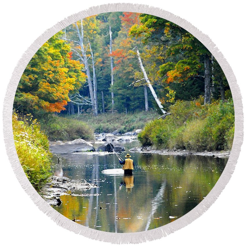 Fall Round Beach Towel featuring the photograph Fall Fishing by David Lee Thompson