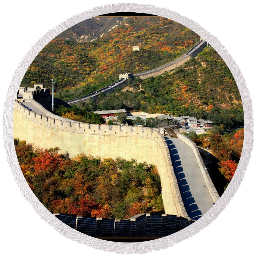 The Great Wall Round Beach Towel featuring the photograph Fall Foliage At The Great Wall by Carol Groenen