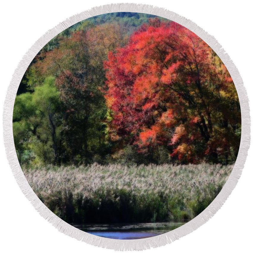 Autumn Round Beach Towel featuring the photograph Fall Foliage Marsh by Smilin Eyes Treasures