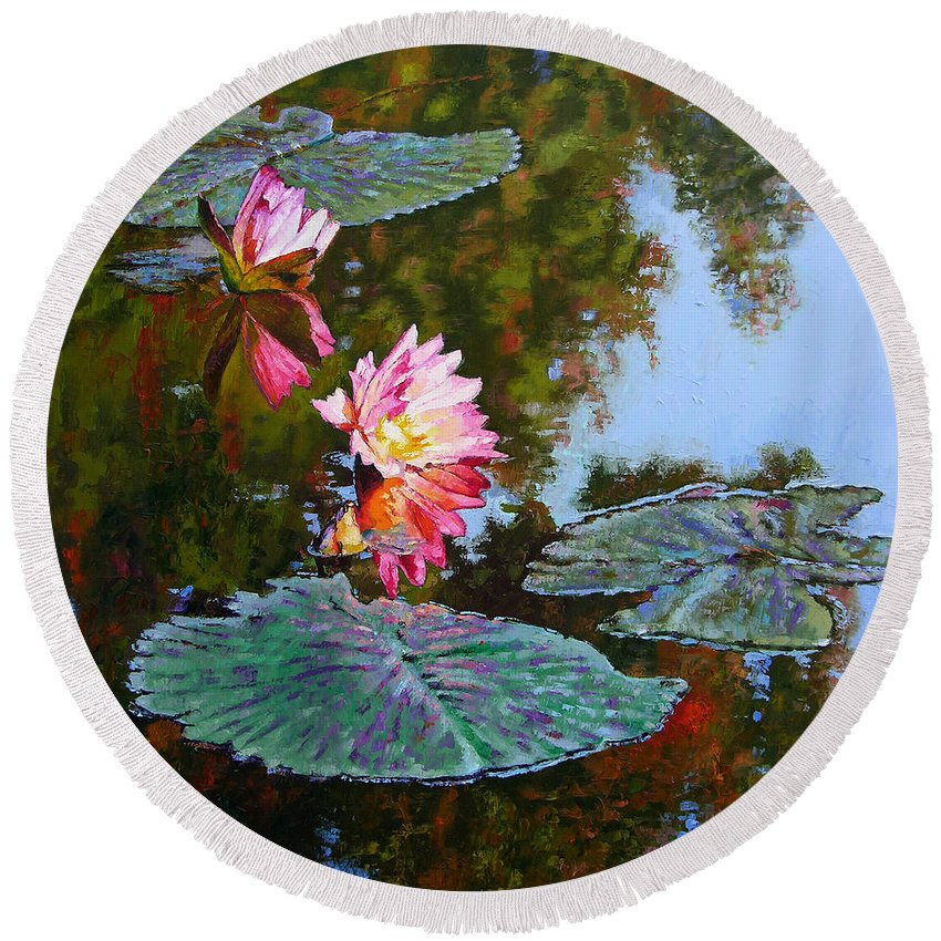 Water Lily Round Beach Towel featuring the painting Fall Glow by John Lautermilch