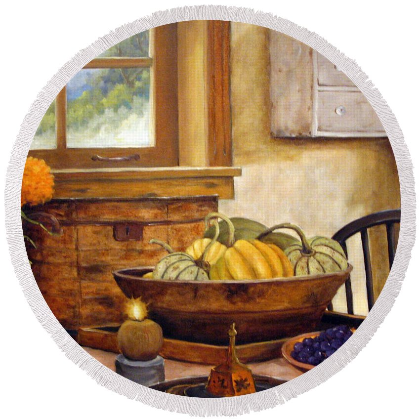 Fall Round Beach Towel featuring the painting Fall Harvest by Richard T Pranke