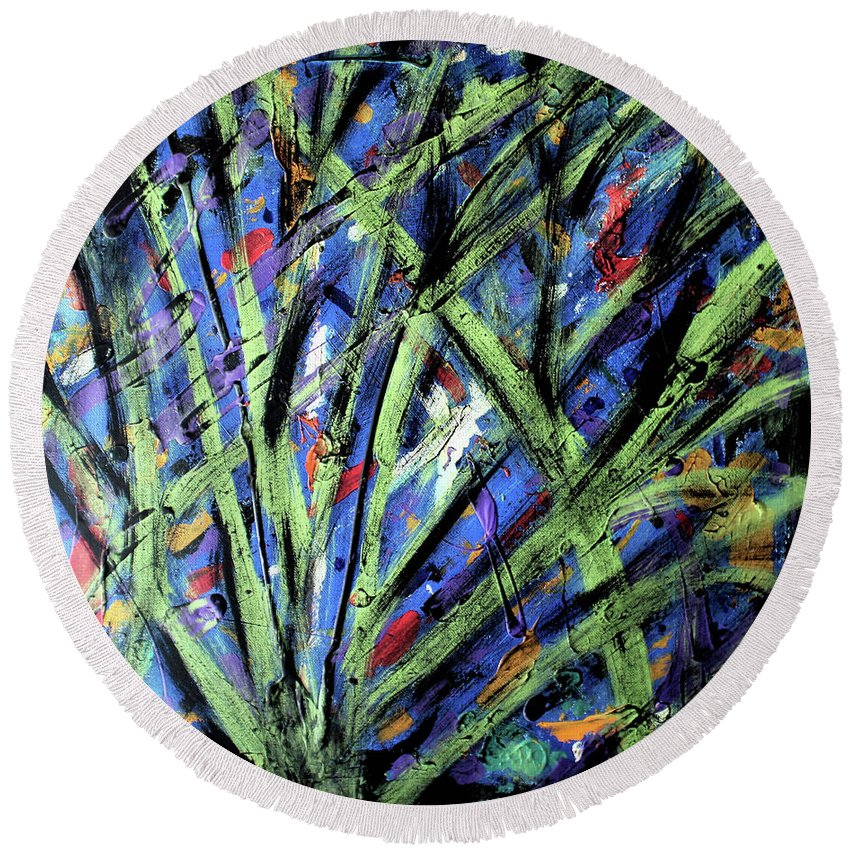 Abstract Round Beach Towel featuring the painting Fall Haze by Pam Roth O'Mara