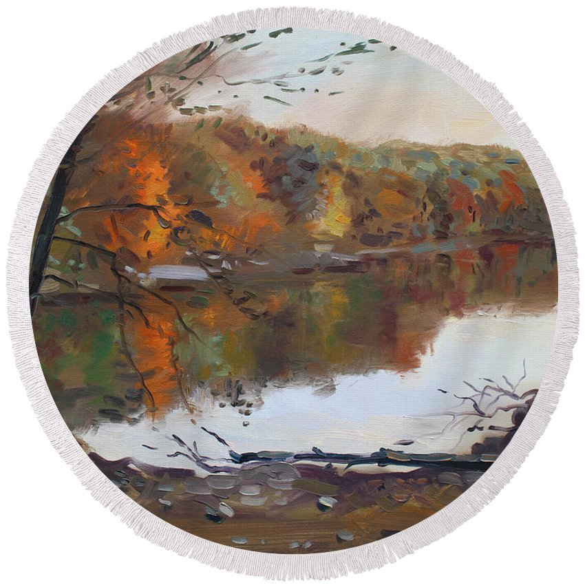 Landscape Round Beach Towel featuring the painting Fall In 7 Lakes by Ylli Haruni