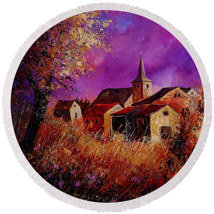 Village Round Beach Towel featuring the painting Fall In Ardennes by Pol Ledent