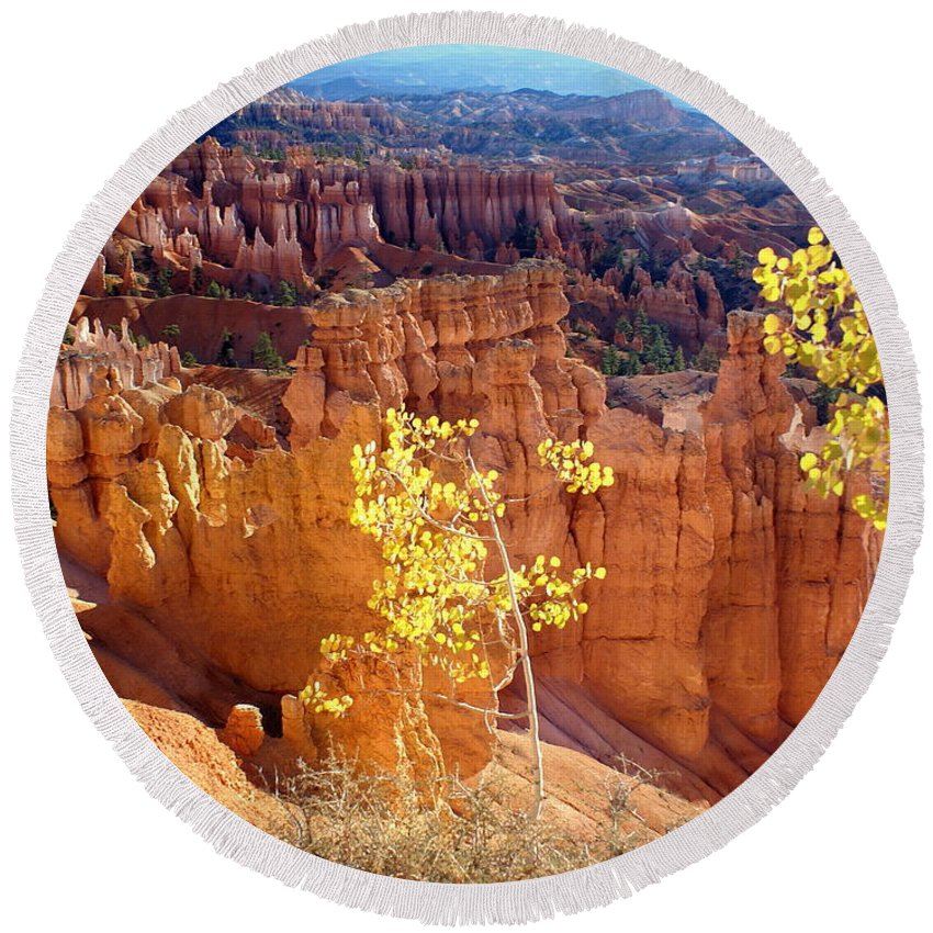 Bryce Canyon National Park Round Beach Towel featuring the photograph Fall In Bryce Canyon by Marty Koch