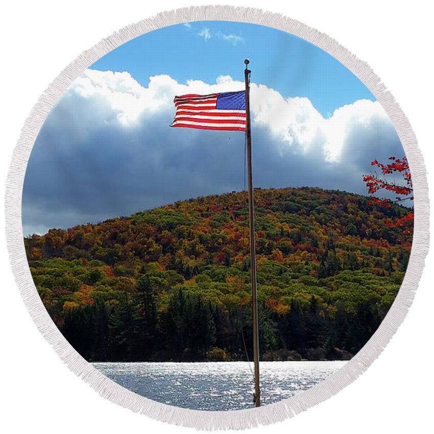 Heath Round Beach Towel featuring the photograph Fall In Heath by Mike Roff