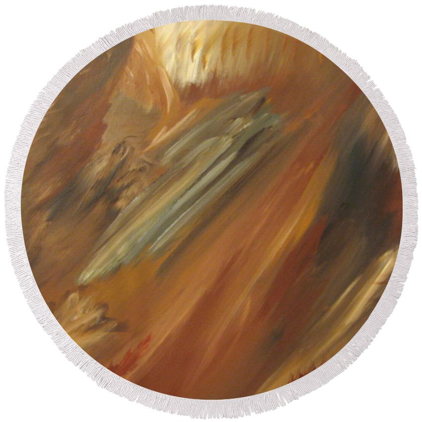 Abstract Round Beach Towel featuring the painting Fall In Motion by Debbie Levene