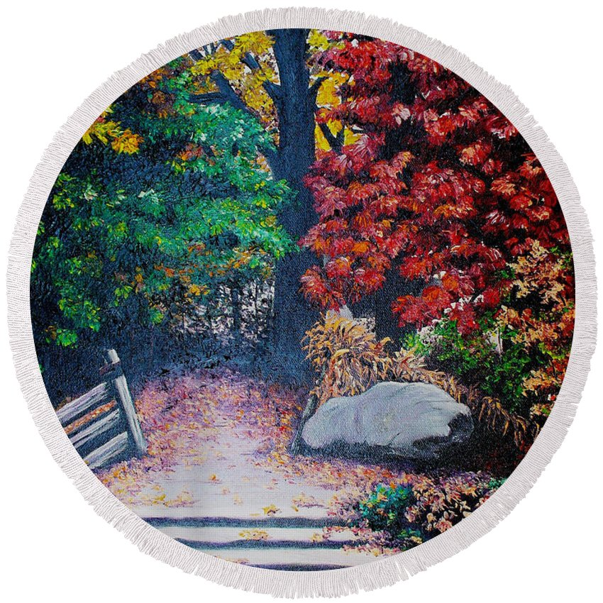A N Original Painting Of An Autumn Scene In The Gateneau In Quebec Round Beach Towel featuring the painting Fall In Quebec Canada by Karin Dawn Kelshall- Best