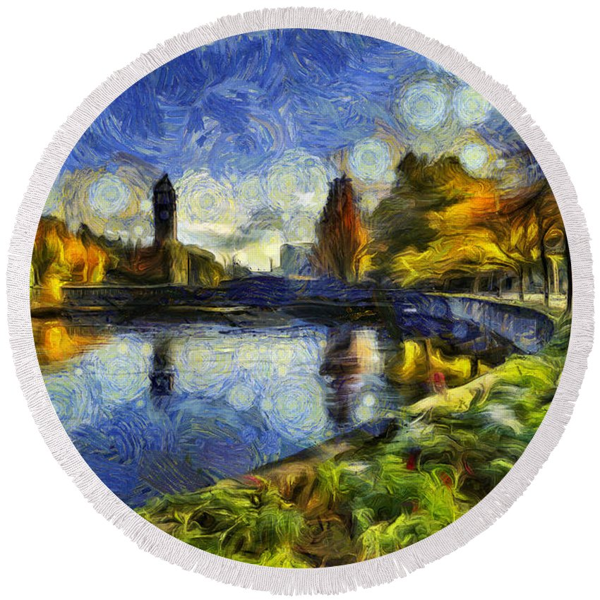 Clock Tower Round Beach Towel featuring the photograph Fall In Riverfront Park Spokane by Mark Kiver