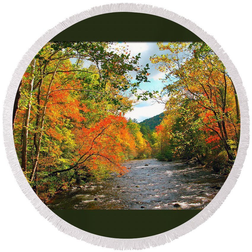 Fall Round Beach Towel featuring the photograph Fall In The Smokey Mountains by Brittany Horton