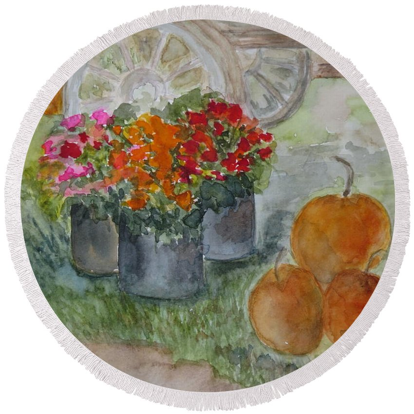 Pumpkins Round Beach Towel featuring the painting Fall In Vermont by Peggy Maunsell