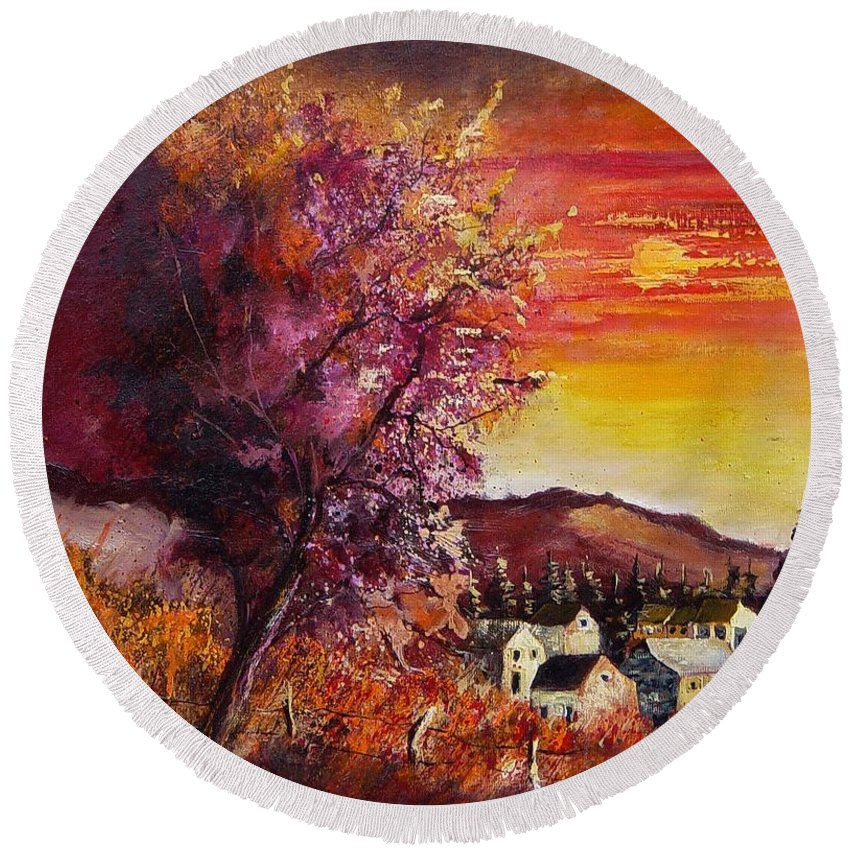 Autumn Round Beach Towel featuring the painting Fall In Villers by Pol Ledent