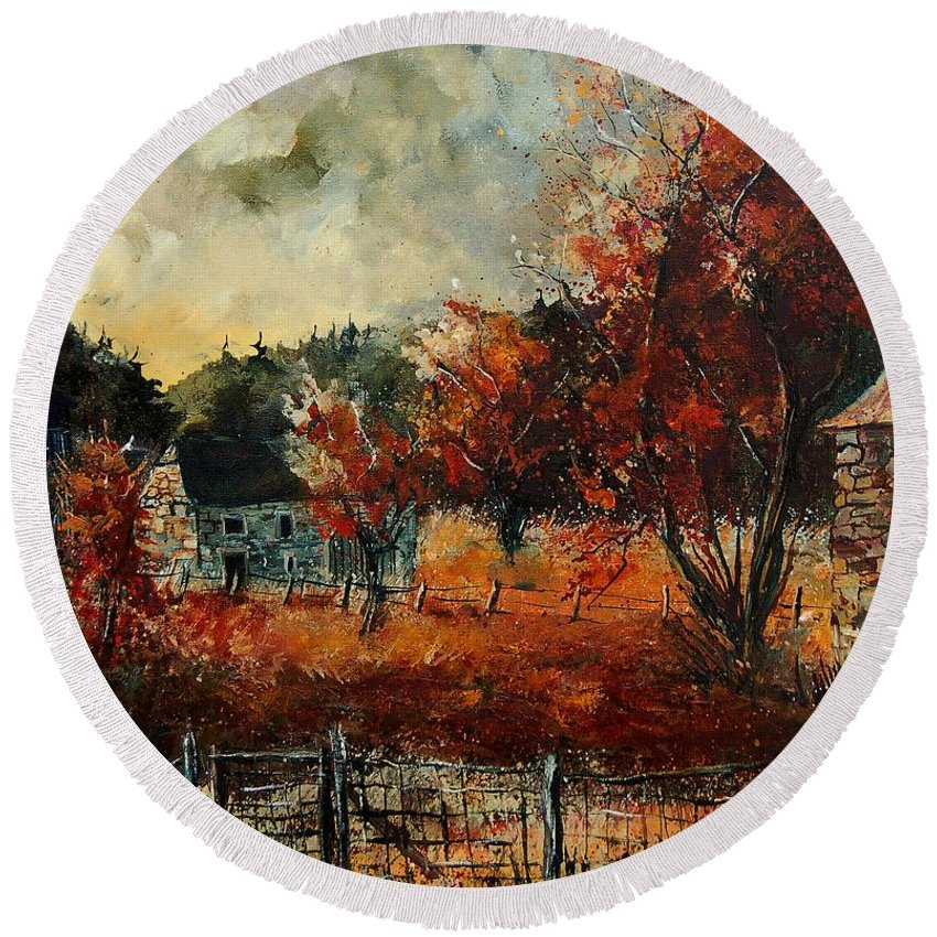 Village Round Beach Towel featuring the painting Fall In Vivy by Pol Ledent