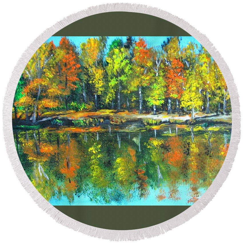 Fall Round Beach Towel featuring the painting Fall Landscape Acrylic Painting Framed by Natalja Picugina