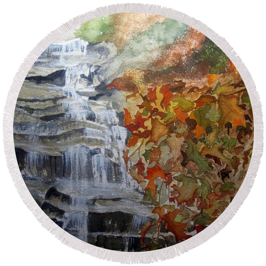 Water Fall Round Beach Towel featuring the painting Fall Leaves by Julia RIETZ