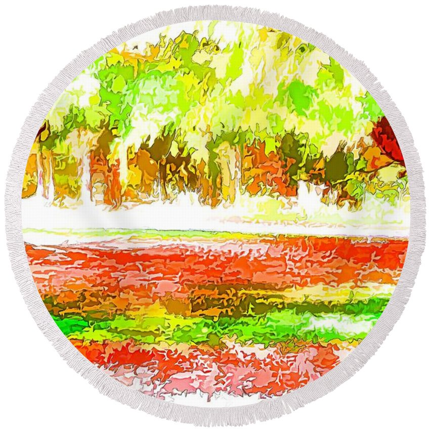 Fall Leaves Trees Round Beach Towel featuring the painting Fall Leaves Trees 2 by Jeelan Clark