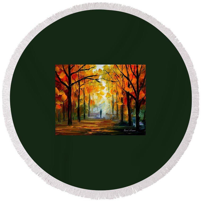 Landscape Round Beach Towel featuring the painting Fall by Leonid Afremov