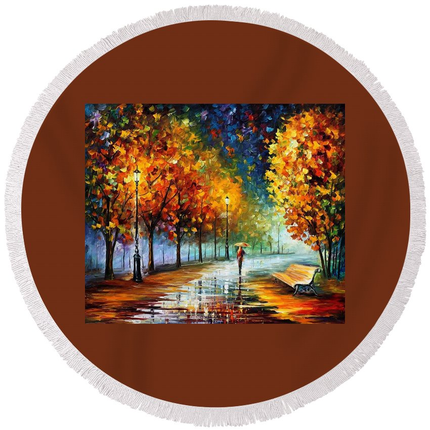 Afremov Round Beach Towel featuring the painting Fall Marathon by Leonid Afremov