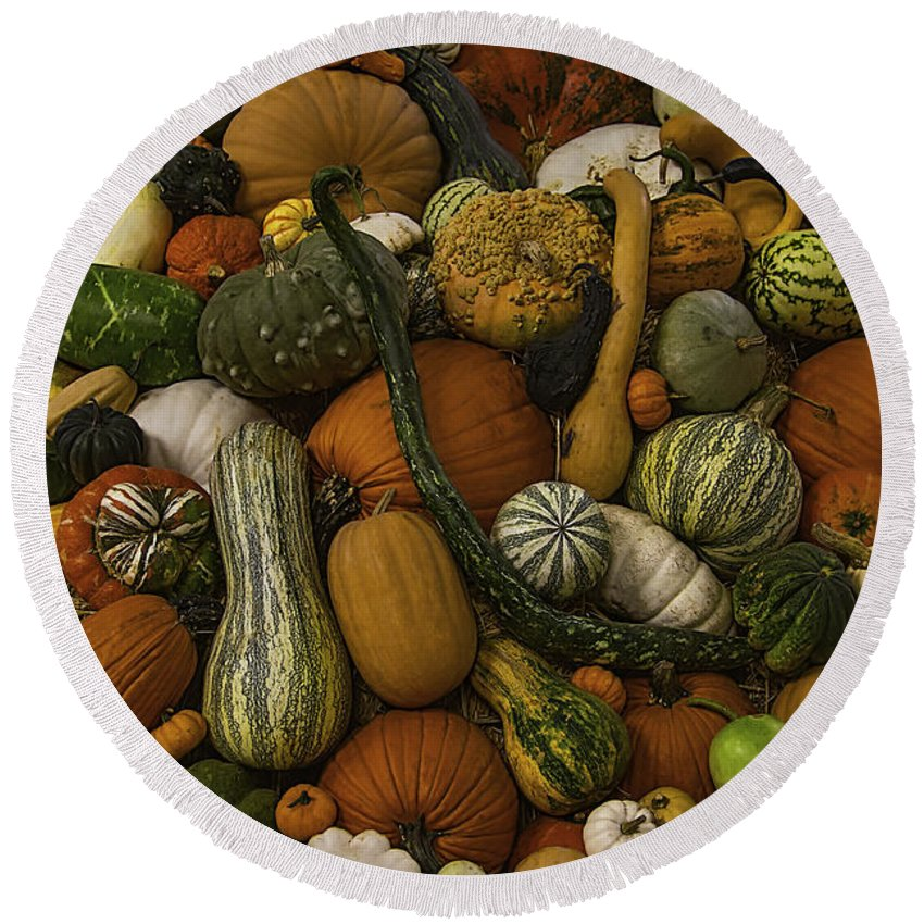 Gourds Round Beach Towel featuring the photograph Fall Pile by Garry Gay