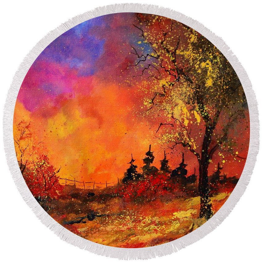 River Round Beach Towel featuring the painting Fall by Pol Ledent