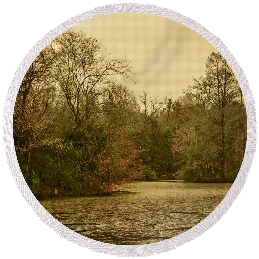 Water Round Beach Towel featuring the photograph Fall Pond by Margie Hurwich