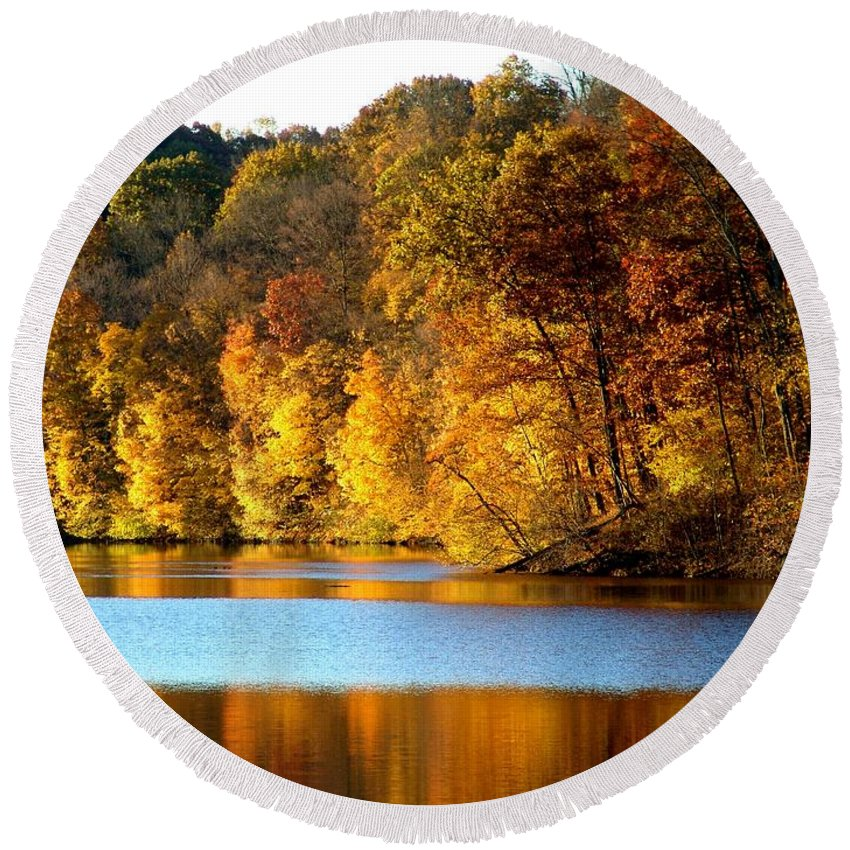 Trees Round Beach Towel featuring the photograph Fall Reflections Of Indiana by Carol Milisen