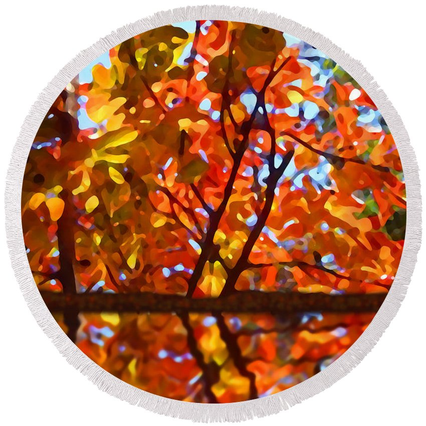 Trees Round Beach Towel featuring the painting Fall Reflextion by Amy Vangsgard