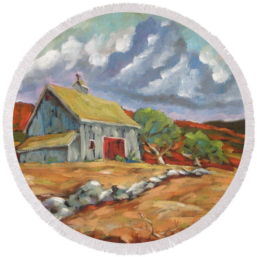 Farm Round Beach Towel featuring the painting Fall Scene by Richard T Pranke