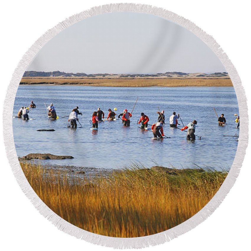 Barnstable Round Beach Towel featuring the photograph Fall Shellfishing by Charles Harden