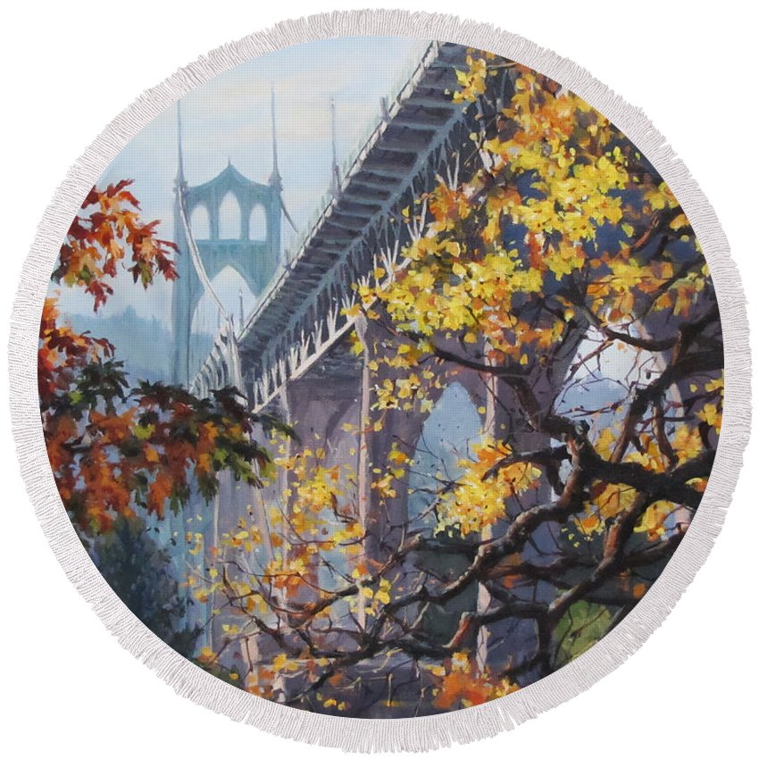 Portland Round Beach Towel featuring the painting Fall St Johns by Karen Ilari
