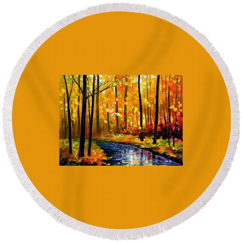 Afremov Round Beach Towel featuring the painting Fall Stream by Leonid Afremov