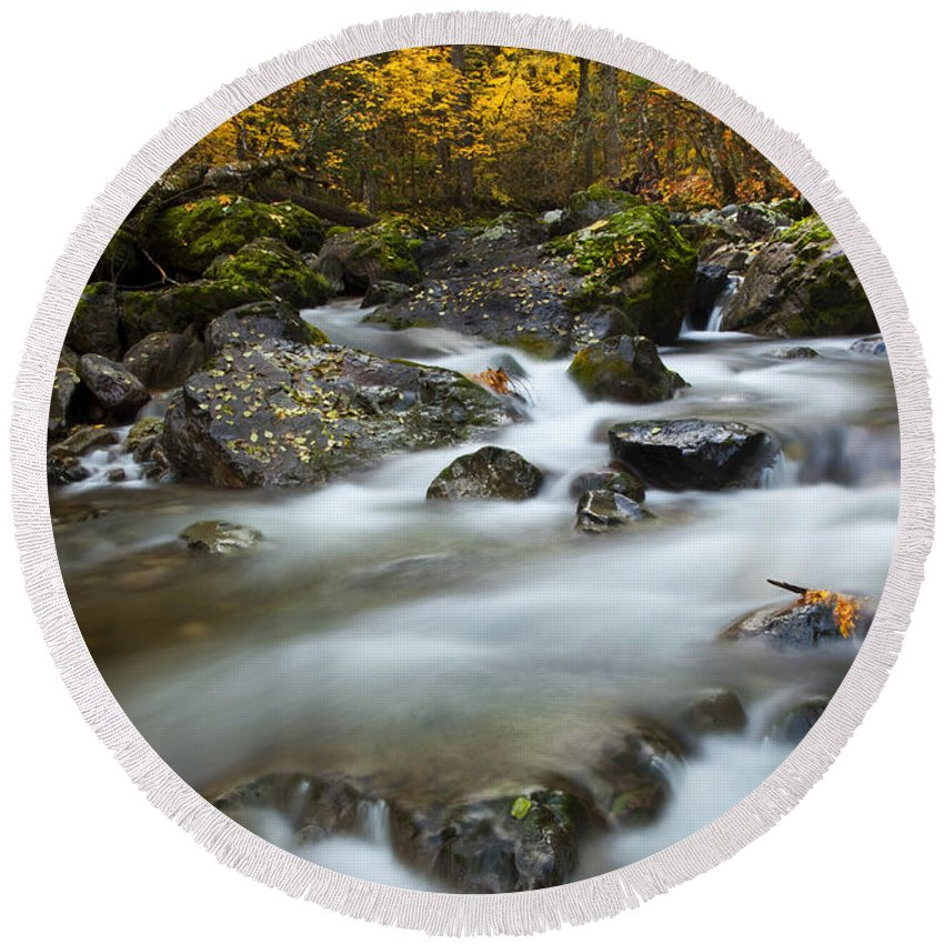 Stream Round Beach Towel featuring the photograph Fall Surge by Mike Dawson