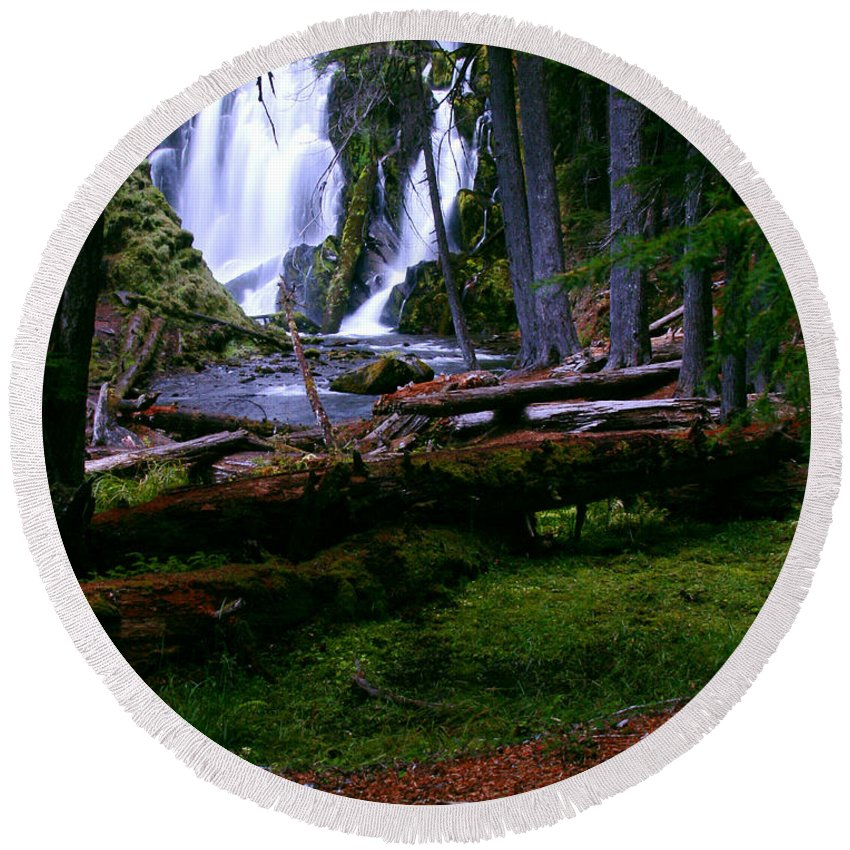 Waterfall Round Beach Towel featuring the photograph Fall Through by Peter Piatt