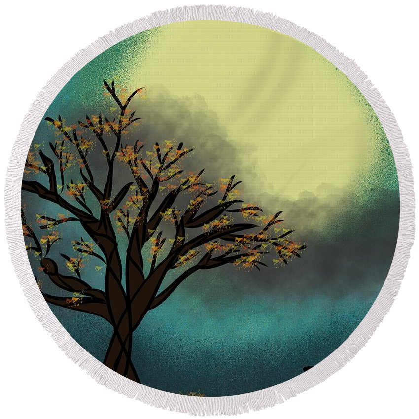 Abstract Tree Round Beach Towel featuring the digital art Fall Time Break by Morgan Payne