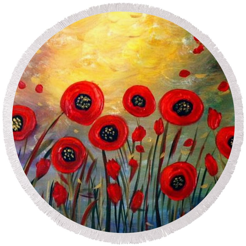 Flowers Round Beach Towel featuring the painting Fall Time Poppies by Luiza Vizoli