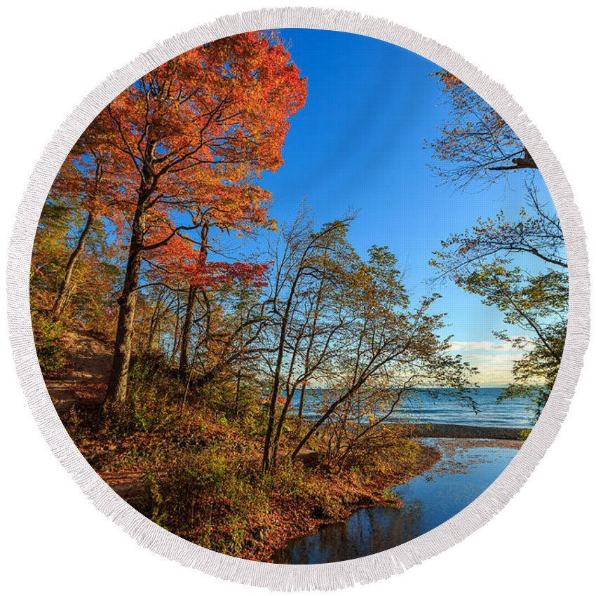 Autumn Round Beach Towel featuring the photograph Fall Trails by Andrew Slater