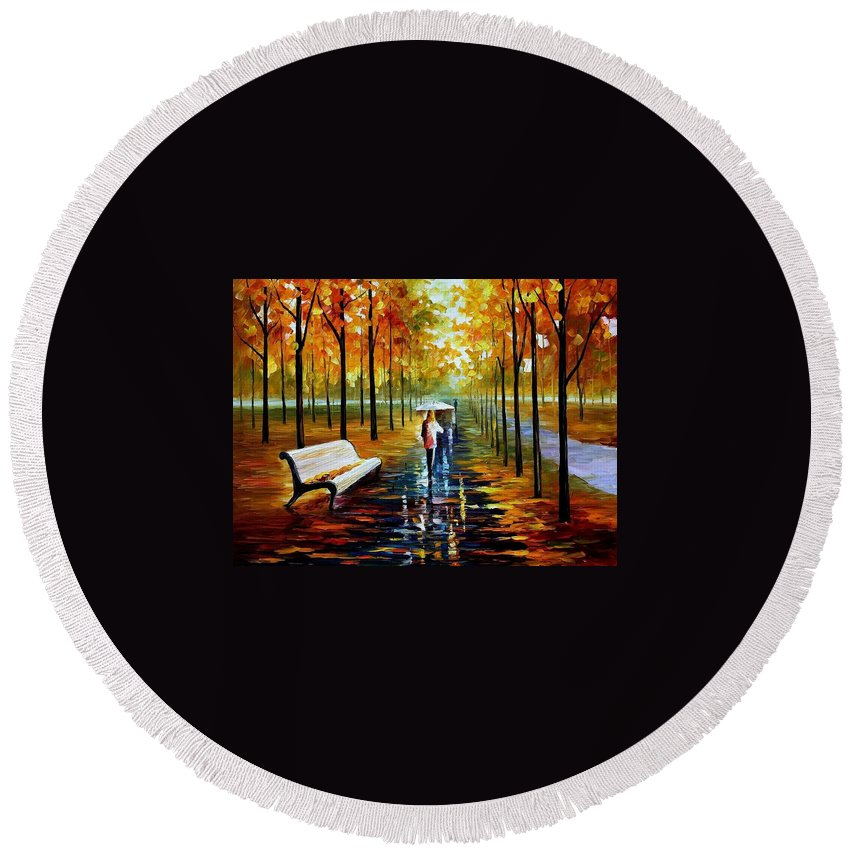 Afremov Round Beach Towel featuring the painting Fall White Umbrella by Leonid Afremov