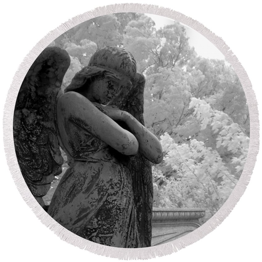 Infrared Photography Round Beach Towel featuring the photograph Fallen Angel by Jane Linders