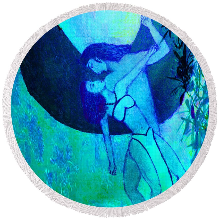 Round Beach Towel featuring the painting Fallen Angel by Kate Hopson