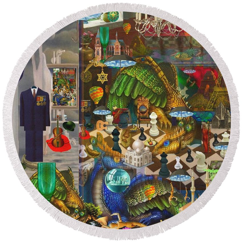 Surrealism Round Beach Towel featuring the digital art The Evil Trick by Akor Wild