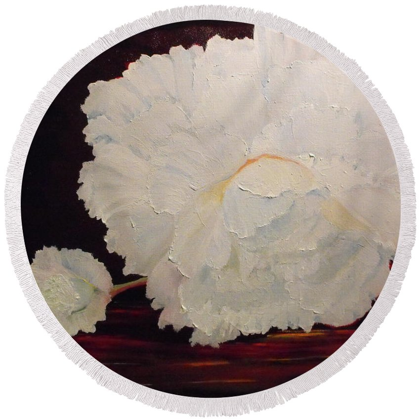 Begonia Round Beach Towel featuring the painting Fallen Begonia by Valerie Curtiss