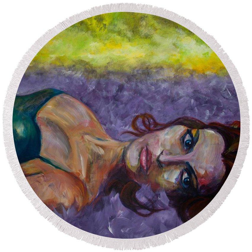 Expressive Round Beach Towel featuring the painting Fallen by Jason Reinhardt
