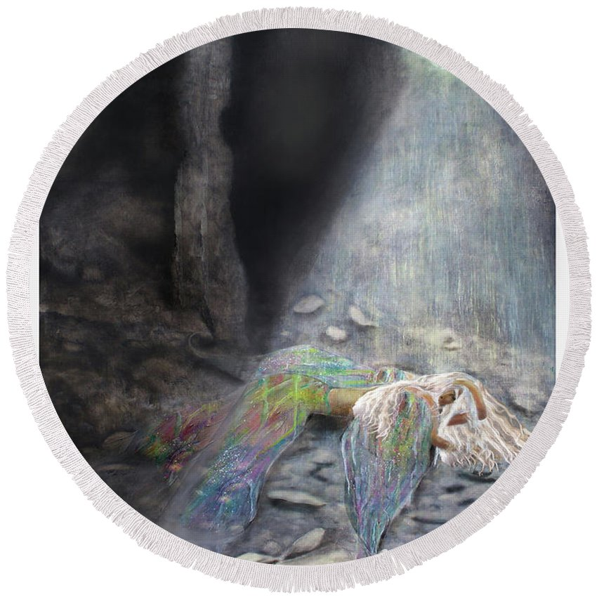 Angel Round Beach Towel featuring the painting Fallen by Larry Rice