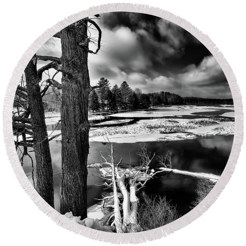 Landscapes Round Beach Towel featuring the photograph Fallen Trees In The Moose River by David Patterson