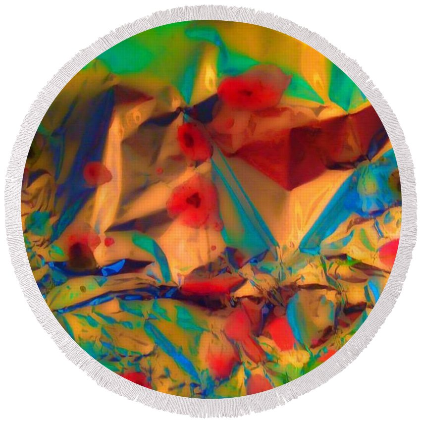 Abstract Round Beach Towel featuring the painting Falling Asleep In The Poppies by Elle Justine