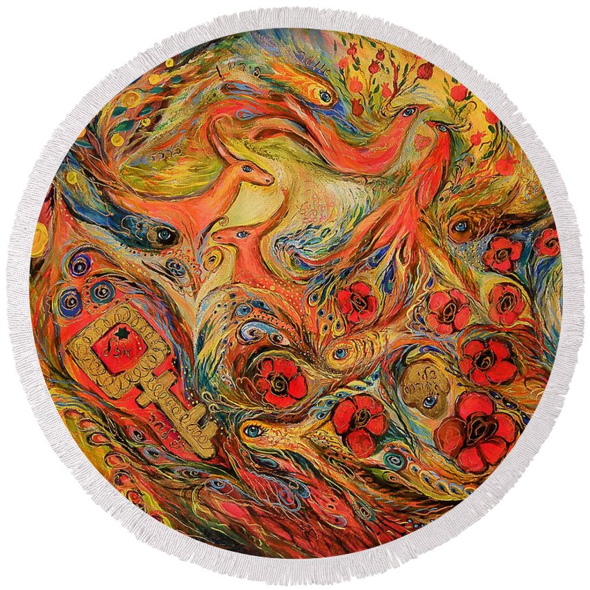 Original Round Beach Towel featuring the painting Falling In Love by Elena Kotliarker