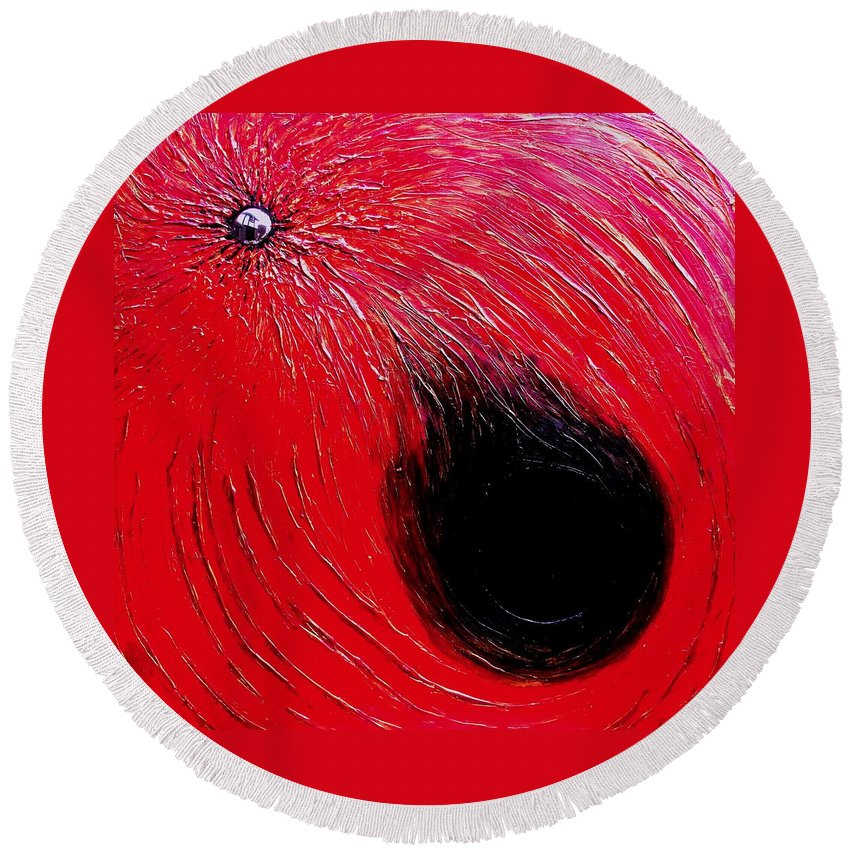 Abstract Round Beach Towel featuring the painting Falling In to Passion by Ian MacDonald